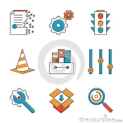 Free Basic Work Elements Line Icons Set Stock Images - 47852594