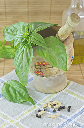 Basil in a mortar