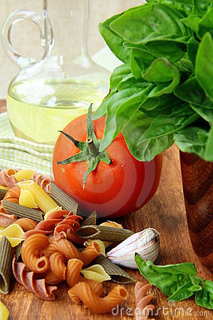 Basil, pasta and olive oil
