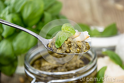 Basil Pesto on a spoon