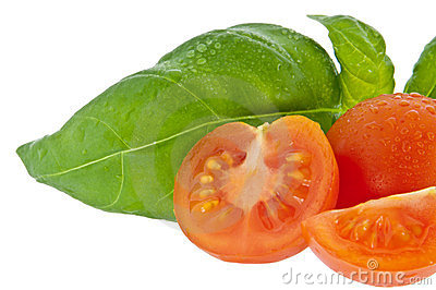 Basil with small tomato (with clipping path)
