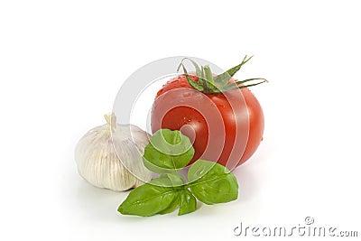 Basil tomato and garlic