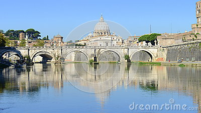 Basilica di San Pietro over Sant Angelo bridge on Tevere river Editorial Photo