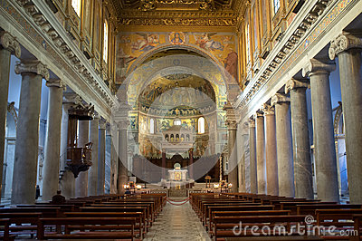 The Basilica of Our Lady in Trastevere in Rome Editorial Stock Image