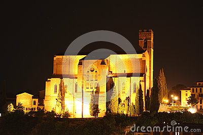 Basilica of San Domenico in Siena at night