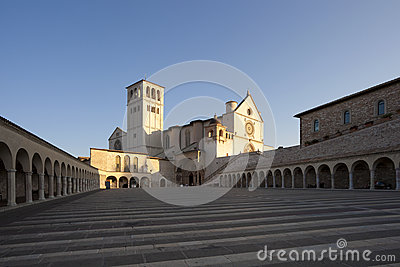 Basilica of San Francesco of Assisi after sunrise