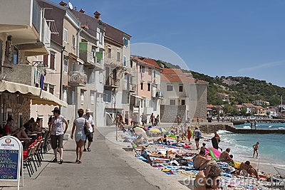 Baska seafront, Croatia Editorial Stock Image