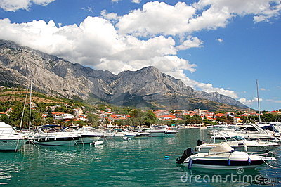 Spectacular clouds over Baska Voda on Adriatic coa