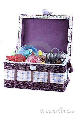 Basket with accessories to sewing