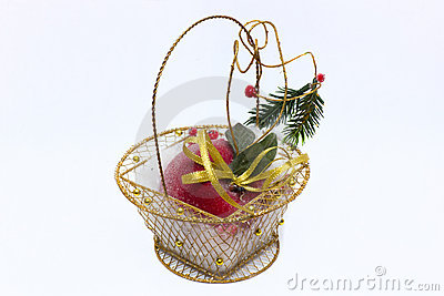 Basket with an apple frost