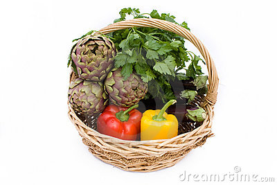 Basket With Artichokes, Peppers And Eggplants