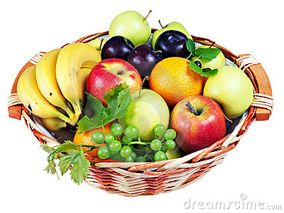 Basket of assorted fresh fruit, isolated
