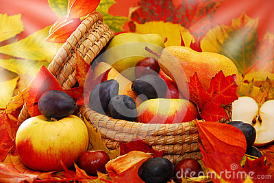 Basket of autumn fruits