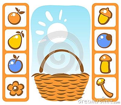 Basket and autumn set