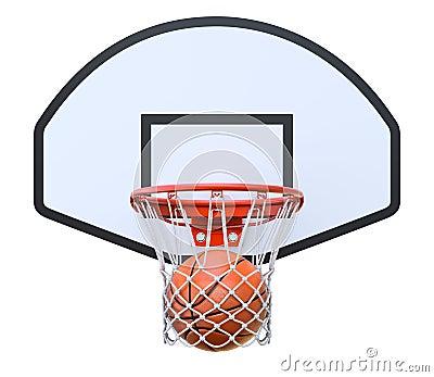 Basket ball in the hoop