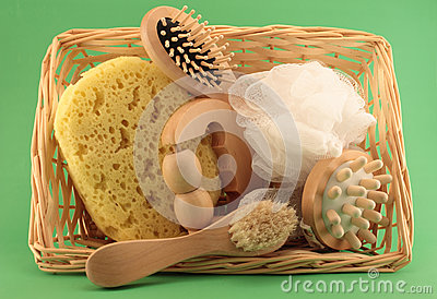 Basket with beauty and SPA articles