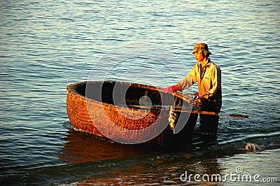 Basket boat in Vietnam Editorial Stock Image