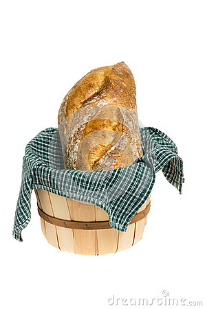 Basket of bread with cloth