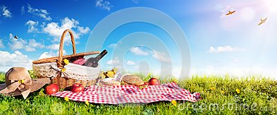 Picnic - Basket With Bread And Wine On Meadow Stock Photo