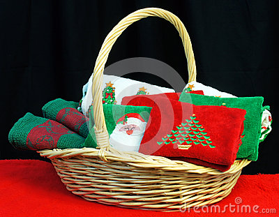 Basket of Christmas towels
