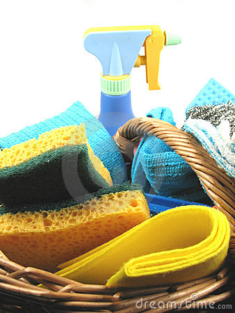 Basket with cleaning products
