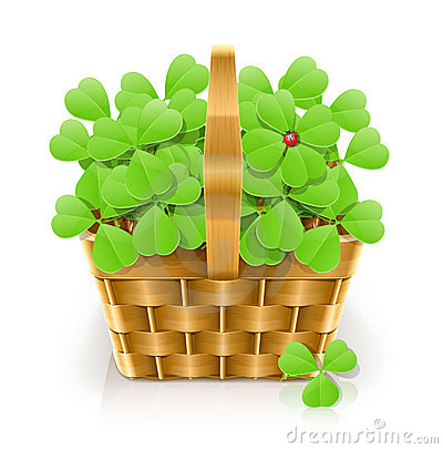 Basket with clover