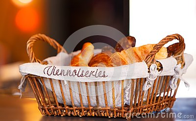 Basket with croissants