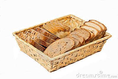 Basket with different kind sliced bread