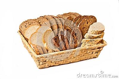 Basket with different kind sliced bread
