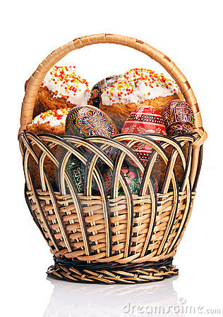 Basket with Easter cakes and painted eggs