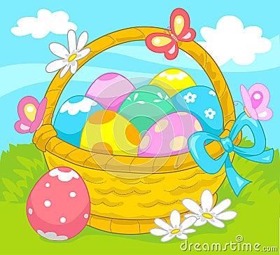 Basket of Easter eggs vector