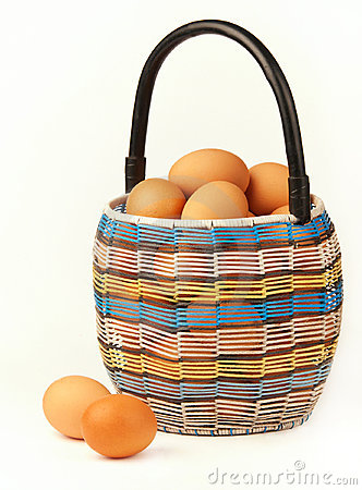 Basket with the eggs.