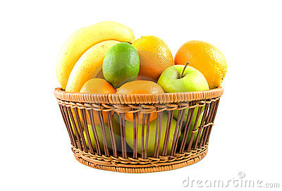 Basket filled with fresh fruits