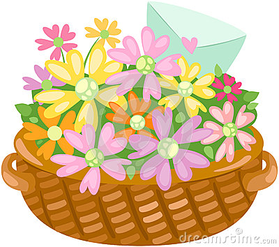Basket of flower with love letter