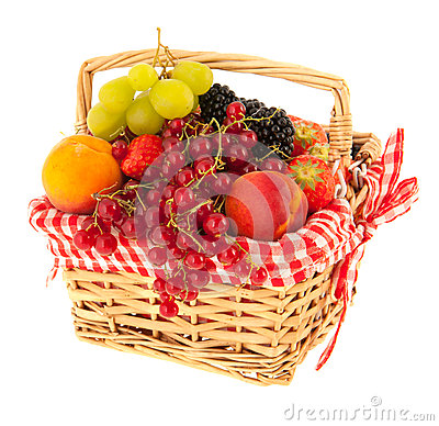 Free Basket Fresh Fruit Royalty Free Stock Image - 55528396