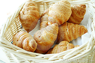 Basket of Fresh hot croissant