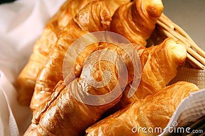 Basket of Fresh hot croissant