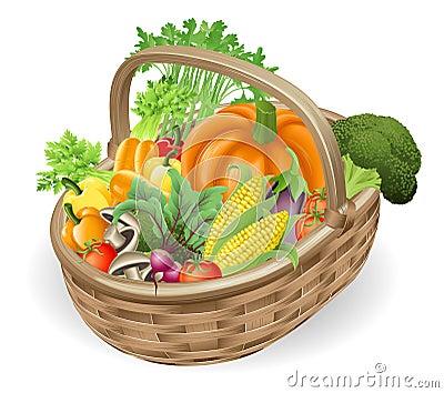 Basket fresh vegetables