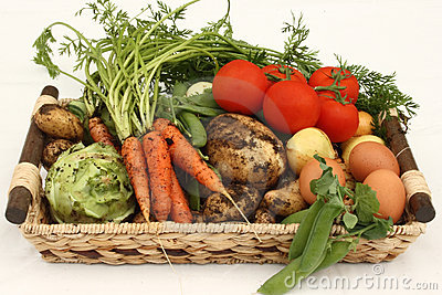 Basket with fresh vegetables and eggs