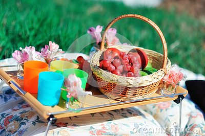 Basket with fruit and flowers