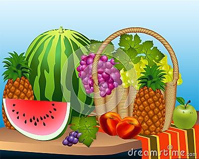 Basket and fruits watermelon grape peaches