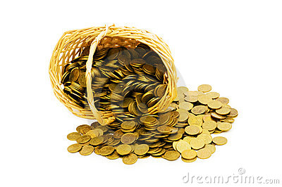 Basket full of coins isolated