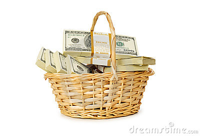 Basket full of dollars isolated