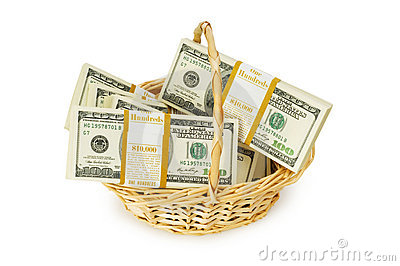 Basket full of dollars isolated
