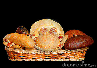 Basket full of fresh bread products