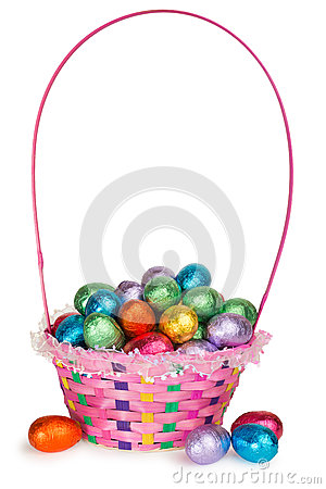 Free Basket Full Of Chocolate Easter Eggs Royalty Free Stock Images - 29588559