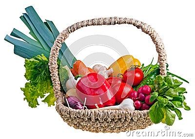 Basket full of vegetablepotatoes