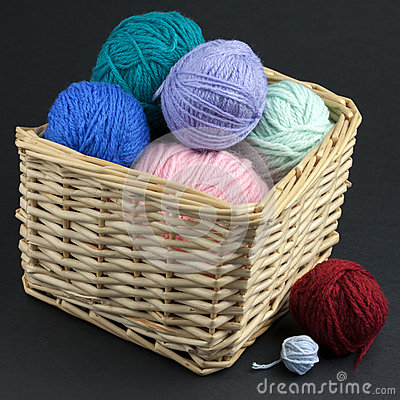 Basket full of yarn