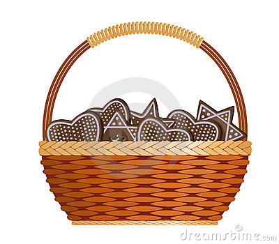 Basket with ginger cakes