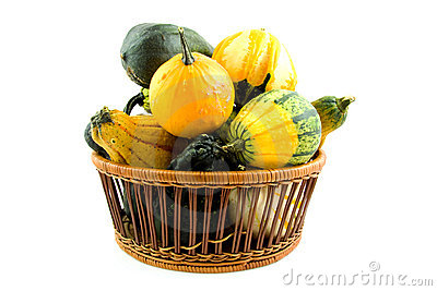 Basket with gourds